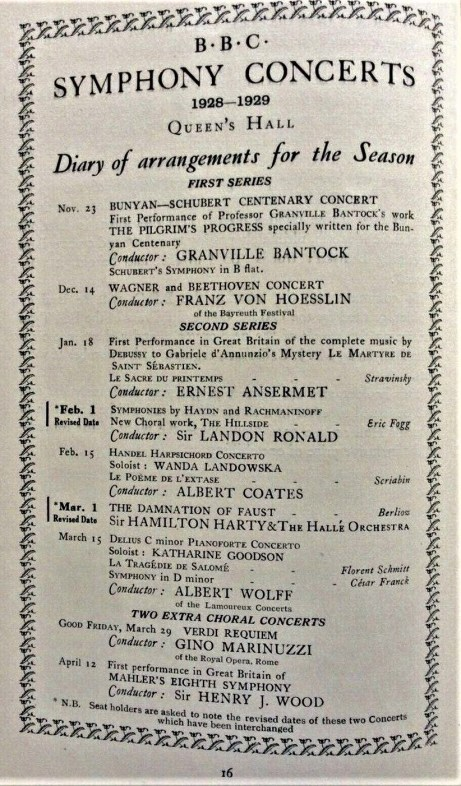 BBC Symphony Concert Season 1928-29