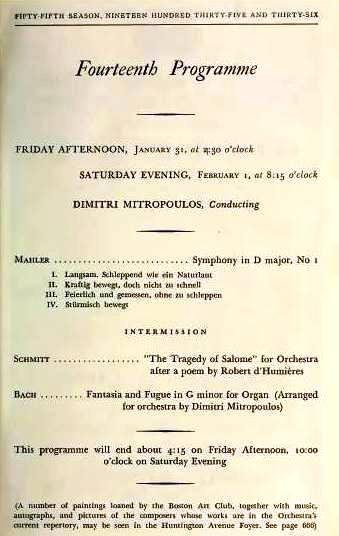 Boston Symphony Orchestra program January 1936 Florent Schmitt Salome Mitropoulos