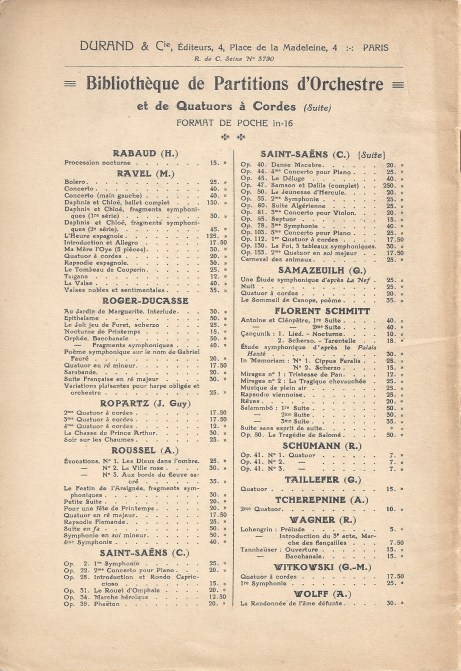 Durand Music Catalogue Sheet 1935