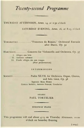 Schmitt Psaume XLVII Boston Symphony Fiedler Koussevitzky 1938 program