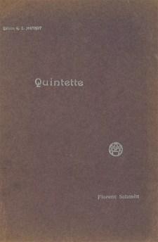 Florent Schmitt Quintette score cover
