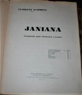 Florent Schmitt Janiana Symphony score cover page