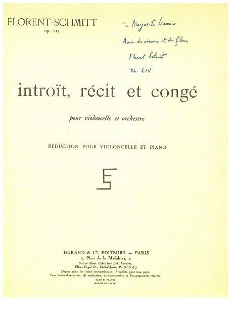 Florent Schmitt Introit recit & conge, music score