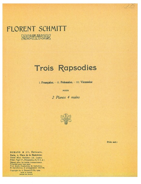 Florent Schmitt: Trois rapsodies for two pianos, Op. 53, score