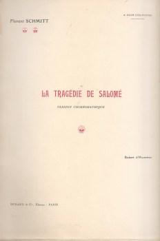 Florent Schmitt Tragedie de Salome piano score