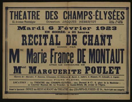 Montaut song recital 1923