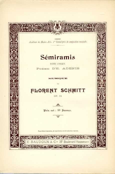 Florent Schmitt Semiramis score inside front cover