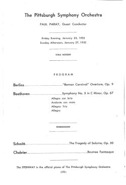 Paray Pittsburgh Symphony Schmitt 1952