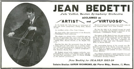 Jean Bedetti promotional notice 1923