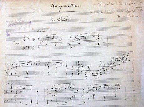 Florent Schmitt Musique intimes Cloitre manuscript