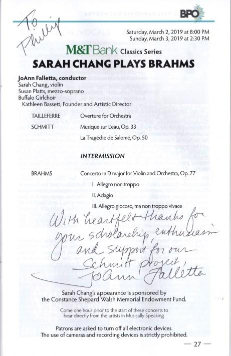 Buffalo Philharmonic concert program Florent Schmitt Tailleferre Brahms concert program Buffalo Philharmonic March 2019
