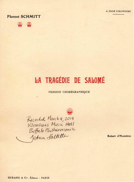 Florent Schmitt Tragedie de Salome score signed Falletta