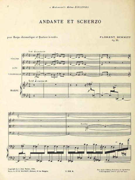 Florent Schmitt Andante et scherzo score harp part