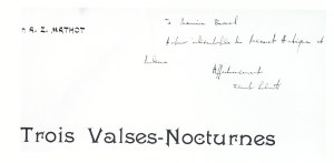 Florent Schmitt Trois valses nocturnes score inscribed to Maurice Ravel
