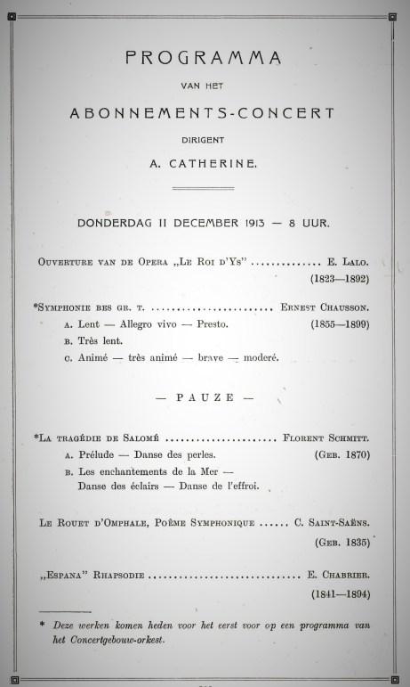 The 1913 Concertgebouw program.