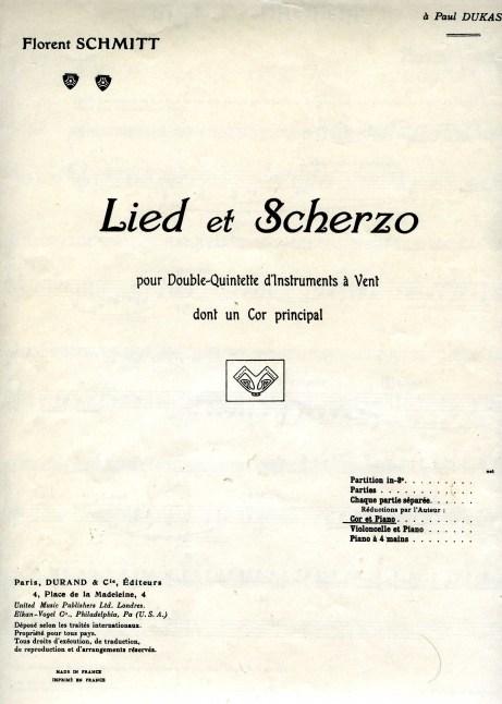 Florent Schmitt Lied et Scherzo score horn/piano