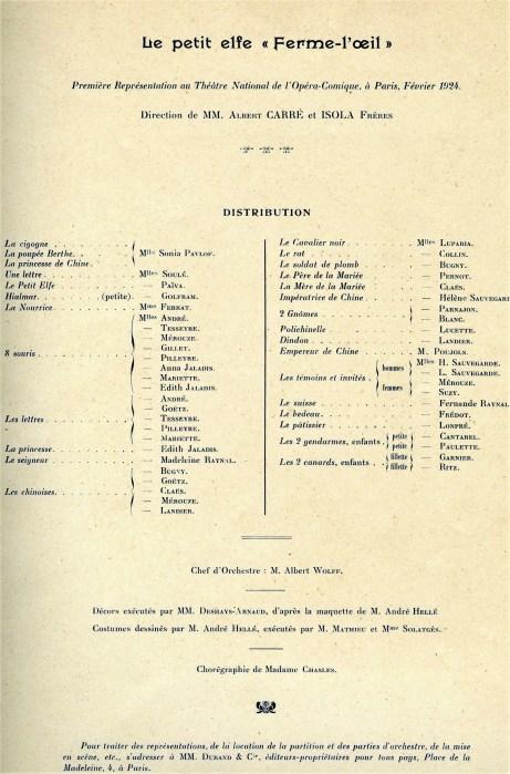Florent Schmitt Le Petit elfe Ferme-l'oeil premiere stage performance 1923
