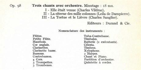 Florent Schmitt Trois chants instrumentation