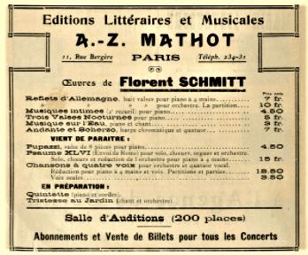 Mathot advertisement 1909 Florent Schmitt