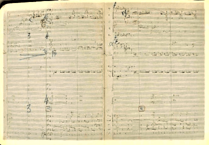 Florent Schmitt Ronde burlesque manuscript pages