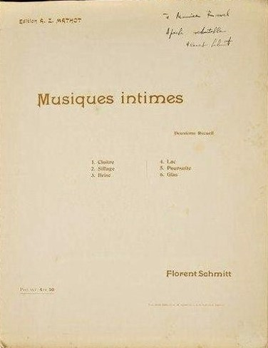 Florent Schmitt Musiques intimes score cover inscribed to Ravel