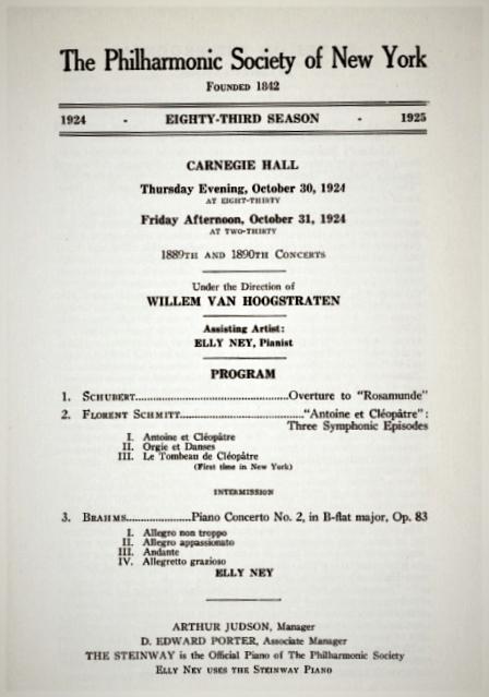 New York Philharmonic program Florent Schmitt Antoine et Cleopatre 1925