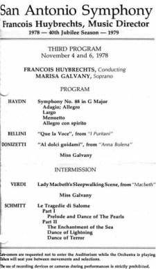 San Antonio Symphony Huybrechts Florent Schmitt program 1978