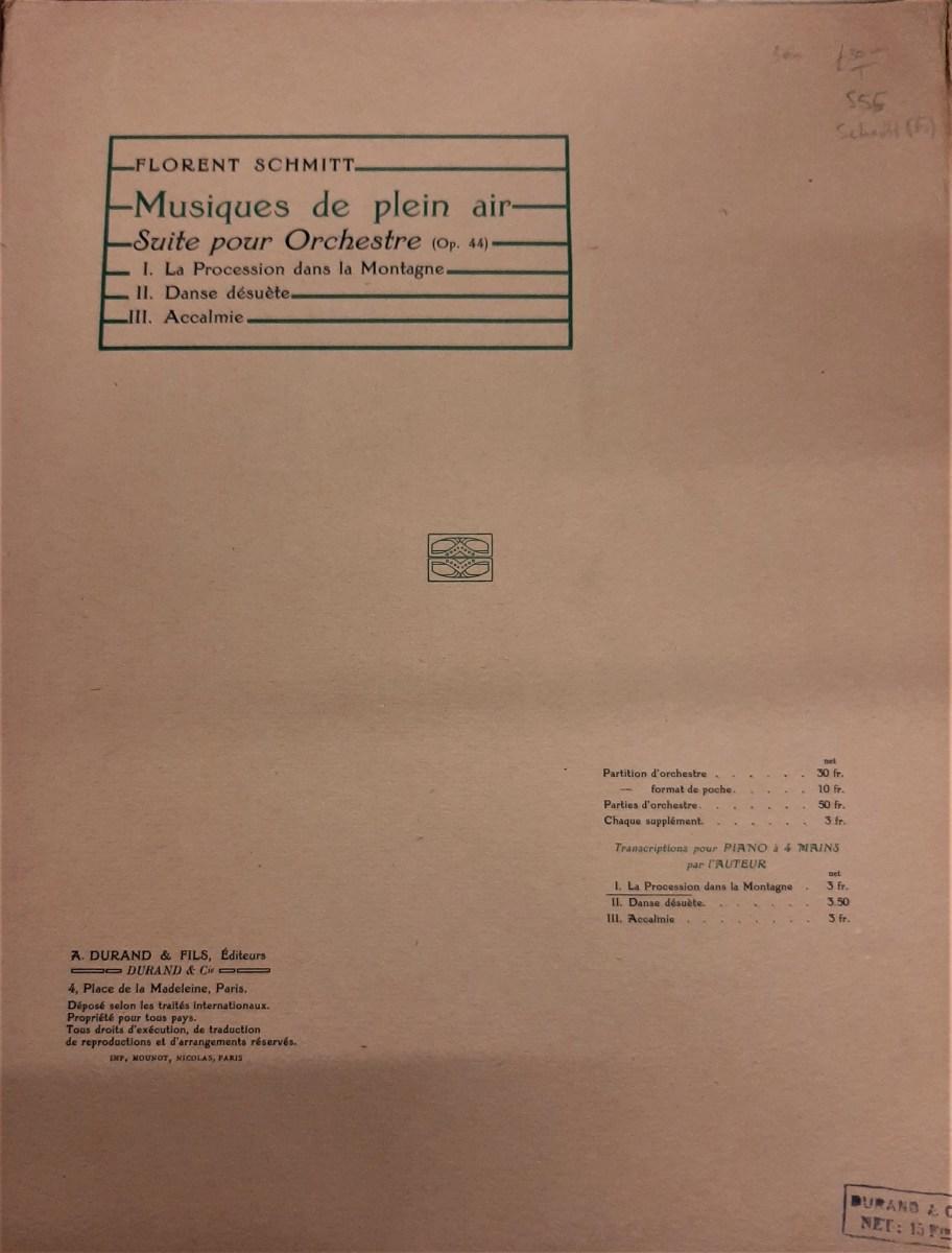 Florent Schmitt Musiques de plein air score cover