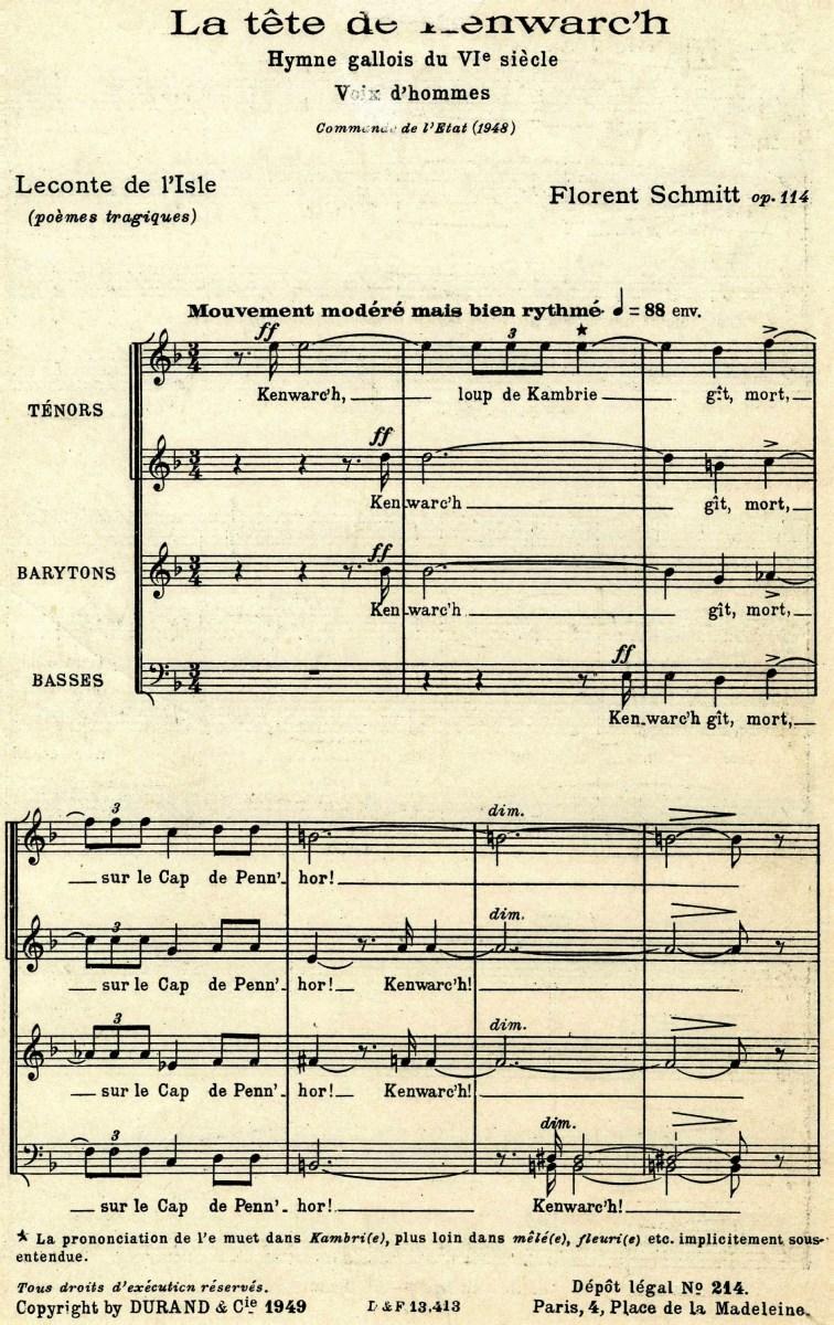 La Tete de Kenwarc'h choral score Florent Schmitt