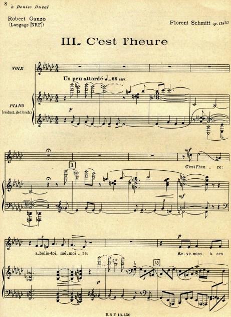 C'est l'heure from Trois poemes de Robert Ganzo Florent Schmitt