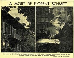 Florent Schmitt Le Figaro Litteraire 8/23/58 edition Claude Baigneres
