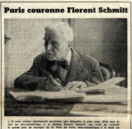 Florent Schmitt Grand Prix Figaro Litteraire 1957