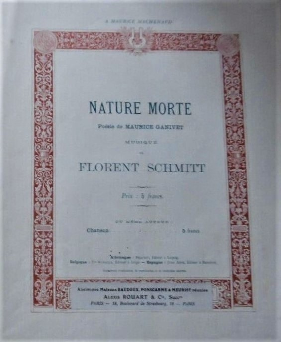 Florent Schmitt Nature morte score cover