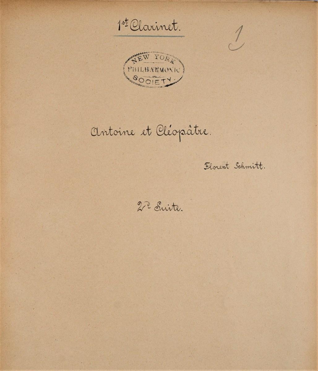 Florent Schmitt Antoine et Cleopatre Suite 2 Clarinet NYPO