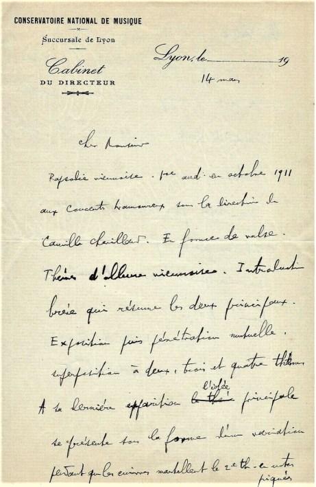 Florent Schmitt letter Rapsodie viennoise Lyon Conservatory