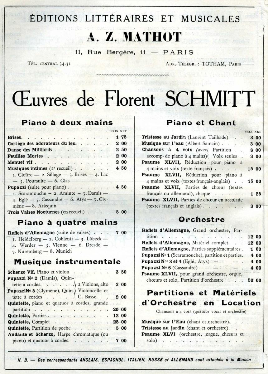 Mathot Florent Schmitt advertisement April 1924
