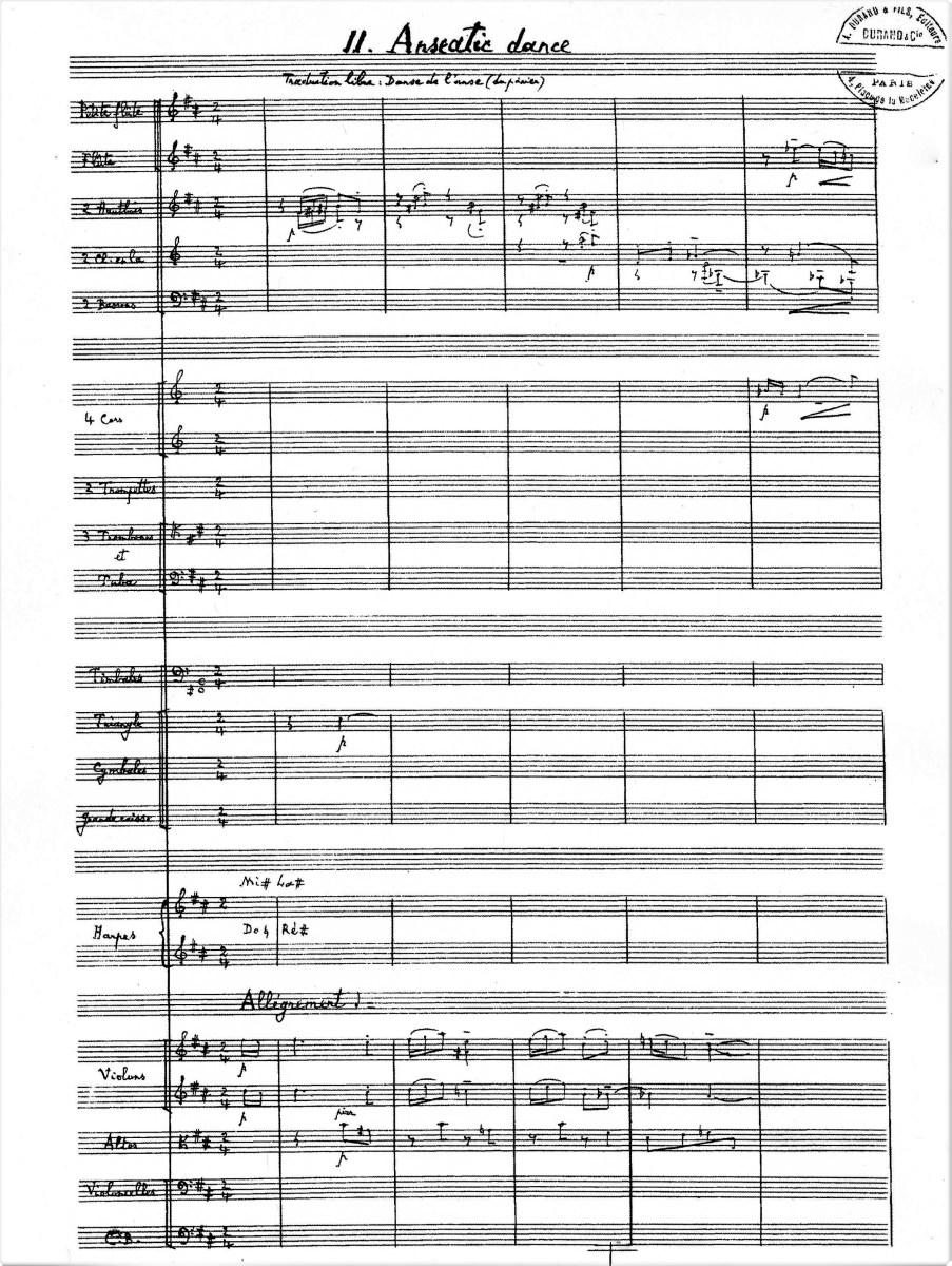 Florent Schmitt Scenes de la vie moyenne Anseatic Dance orchestral manuscript first page