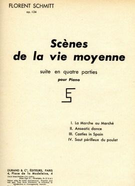 Florent Schmitt Scenes de la vie moyenne piano score cover