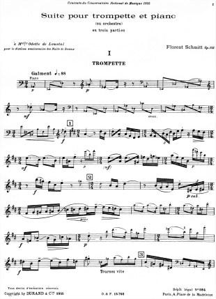 Florent Schmitt Suite en trois parties Trumpet part Page 1