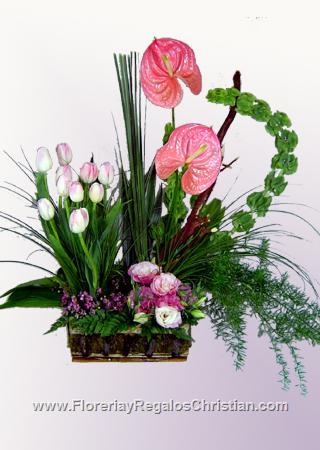Arreglo floral exótico de anturium E3