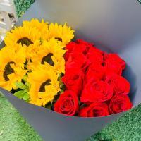 Hermoso bouquet de Rosas y Girasoles - BOU160