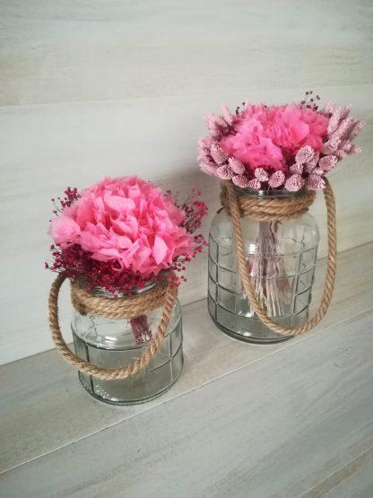 jarrones con hortensias