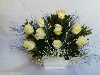 centro rosas blancas floristeria online vigo