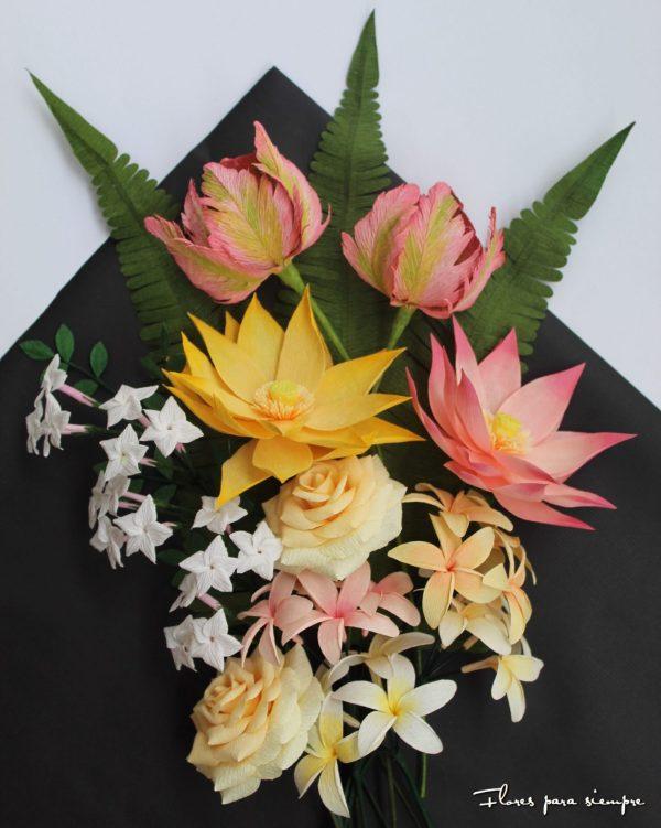 conjunto floral en papel
