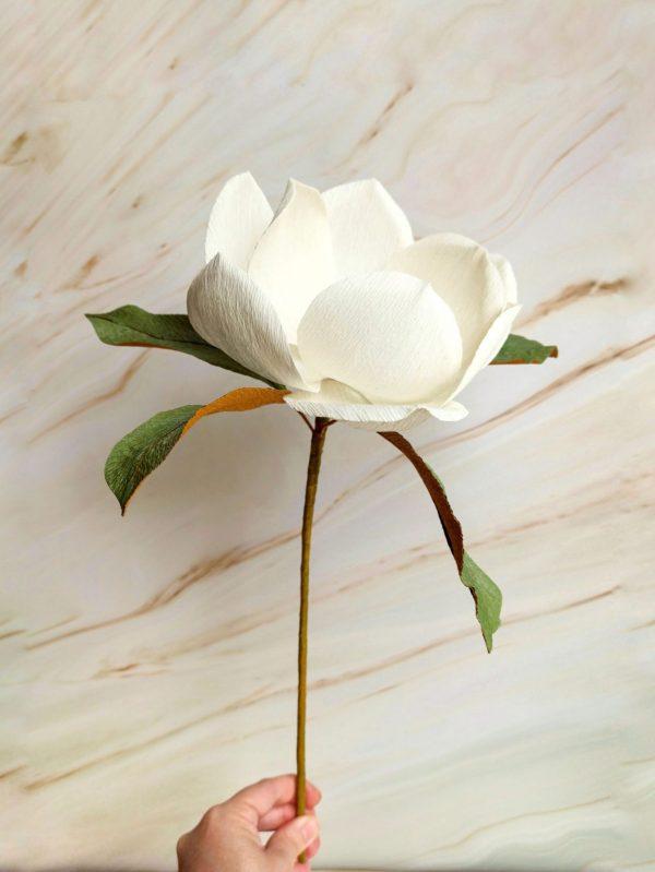 Set de 2 magnolias blancas de papel crepé para decorar