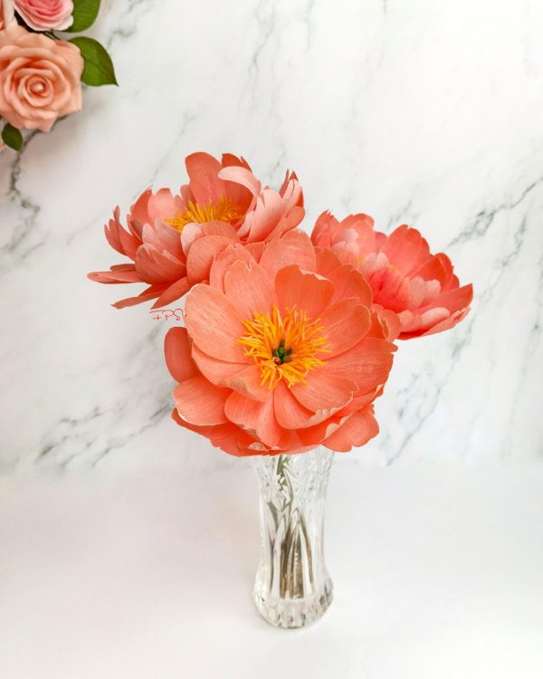 peonias de papel, flores para siempre, flores de papel crepe, ramos de papel, ramos de novia de papel