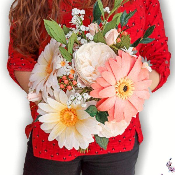 ramo de novia realista de papel, flores para siempre, flores de papel crepe