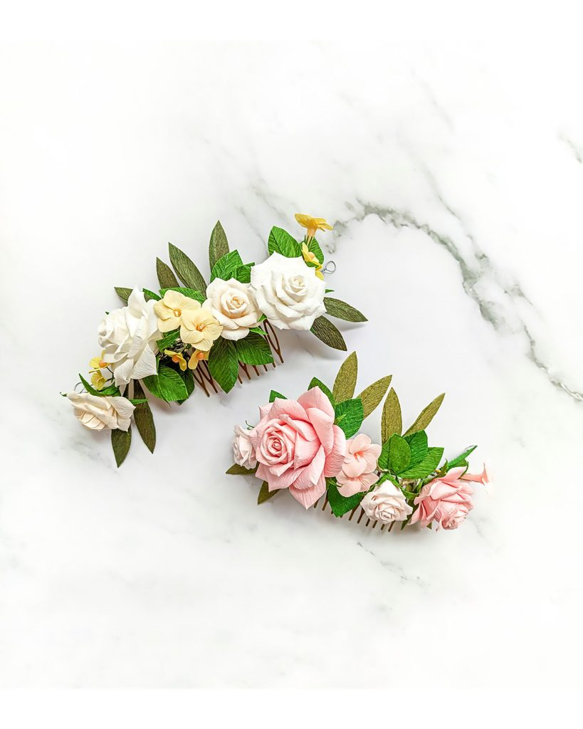 tocados flores de papel, flores para siempre, flores de papel crepe