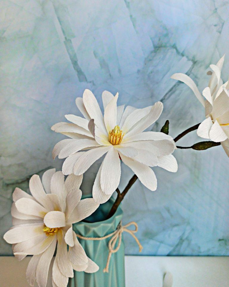 magnolia blanca estrellada de papel realista, flores para siempre, flores de papel crepe
