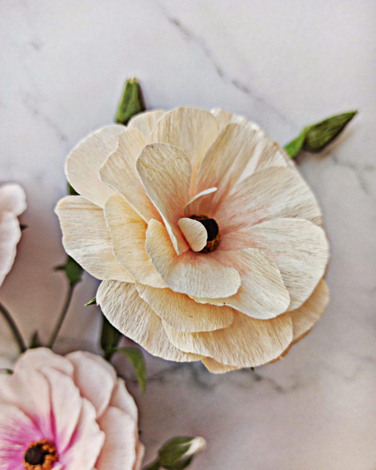 ranúnculos butterfly en ramo de flores de papel crepé, flores para siempre, flores de papel crepe